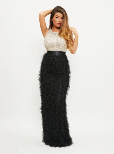 vestido largo plumas