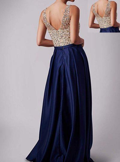 vestido largo azul pedreria 559