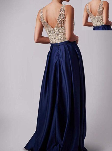 vestido largo azul pedreria 559-12