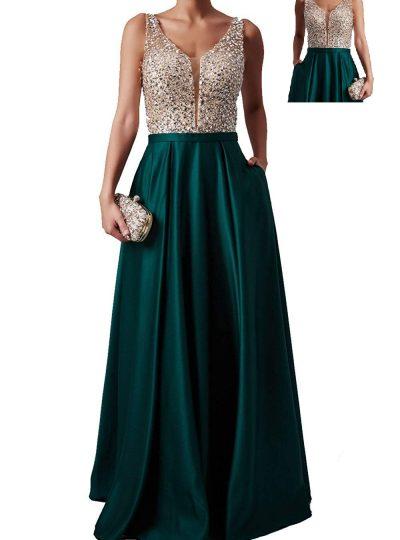vestido largo verde pedreria 559-1