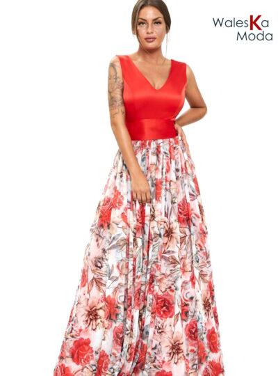 Vestido largo estampado rojo 806